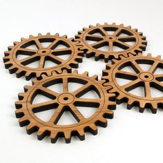 This original handcrafted Bamboo Gear Coaster Set of 4 is our original Graphic Spaces design. Our high-quality wooden gears are laser cut in bamboo wood making them thick and dimensional. Woodworking Jigs, Woodworking Projects, Clear Gift Boxes, Wooden Gears, Laser Cutter Projects, Clock Decor, Modern Typography, Wooden Animals, Wood Coasters