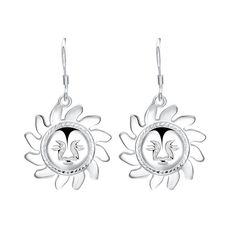 $2.76--Pair of Alloy Sun Smiling Face Drop Earrings - SILVER