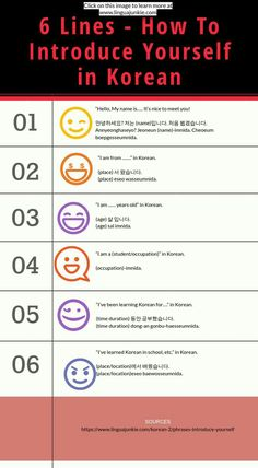 Korean Phrases: How To Introduce Yourself in Korean Korean Phrases: How To Introduce Yourself in Korean,Koreanische sprache learn korean www. Korean Words Learning, Korean Language Learning, Learning Korean For Beginners, Korean Phrases, Korean Quotes, Korean Slang, Learn Hangul, Korean Writing, Korean Lessons