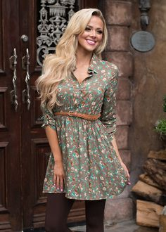 Here and Now Floral Dress Mocha - Modern Vintage Boutique