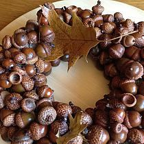 Christmas Wreaths, Christmas Decorations, Holiday Decor, Acorn Wreath, Acorn Crafts, Pine Cones, Craft Projects, Bikini, Autumn