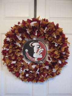 18 Florida State Seminoles Fabric Wreath by burt7 on Etsy, $39.99