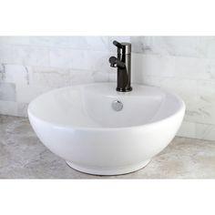 Round White Vitreous China Vessel Sink