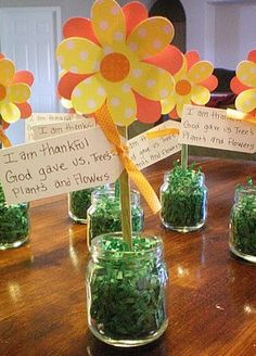 recycled baby food jar~ turned into flower pot~ maybe use handprint flowers for mother's day gift?