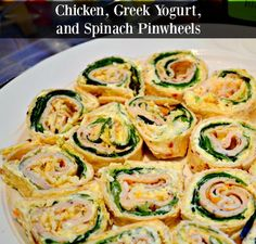 Make these Chicken, Greek Yogurt, and Spinach Pinwheel Appetizers for your next football party. They pack a healthy punch in delicious finger food form! Healthy Appetizers, Healthy Drinks, Appetizer Recipes, Healthy Snacks, Snack Recipes, Healthy Recipes, Weeknight Recipes, Potluck Recipes, Party Recipes