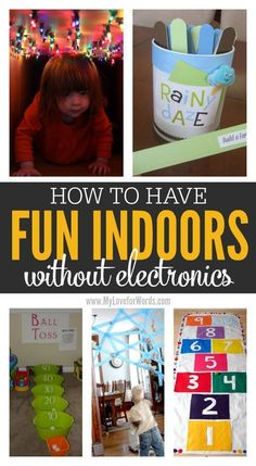 Great ideas for having fun indoors and keeping kids entertained without electronics Must try activities for rainy or snowy days! The kids can have fun indoors without electronics while parents stay sane. Indoor Activities For Kids, Home Activities, Outdoor Activities, Fun Kids Games Indoors, Games To Play With Kids, Babysitting Activities, Kid Games, Family Games, Rainy Day Activities