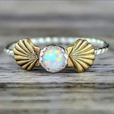 Mermaid Sea Shells and Opal Ring. Sterling Silver and Brass ring with Synthetic Opal. Indie and harper delivering the finest bohemian, festival, gypsy jewels Cute Jewelry, Jewelry Gifts, Silver Jewelry, Jewelry Accessories, Silver Earrings, Jewlery, Anklet Jewelry, Silver Bracelets, Gold Jewellery