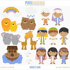 OFF SALE christian clip art bible characters clipart digital religious - Noah's Ark Digital Clip Art Más Sunday School Crafts For Kids, Bible School Crafts, Bible Crafts, Noah's Ark Story, Kids Of Integrity, Noah's Ark Bible, Cute Bibles, Bible Illustrations, Book Projects