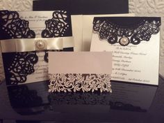 Wedding invitation set.  Comprising Main Wedding Invite, Evening Reception Invite, Table Place Name Setting.  All delicately detailed by hand.