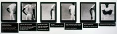 Lorna Simpson, Gestures/Reenactments, 1985 , 6 gelatin silver prints, 7 engraved plastic plaques. 