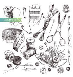 Free Vintage Sewing Images | Sewing set vector 715985 - by Shlapak_Liliya