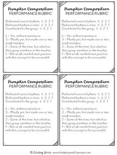 Performance rubrics for Rhythm Composition in the Elementary Music Room - Pumpkin Patch Rhythm Composition pages, lesson plans, and rubrics. There is a page for each of the following concepts: ta and titi, ta rest, tiri-tiri, ti-tiri, and tiri-ti. #kodalyinspiredclassroom #kodaly #rhythm #elmused #musiceducation #iteachmusic