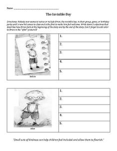 """I do this activity with students in small groups and classroom guidance lessons when we talk about including others and making others feel comfortable and welcome after we read, """"The Invisible Boy"""" by Trudy Ludwig. The Invisible Boy, Pattern Worksheet, Activities For Boys, Guidance Lessons, School Counselor, Classroom Organization, Small Groups, Counseling, Back To School"""