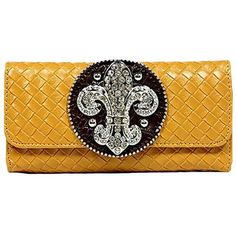 Camel Long Checkbook Wallet With Rhinestone Fleur De Lis (389.835 VND) ❤ liked on Polyvore featuring bags, wallets, camel, women, long bag, long wallet, yellow wallet, yellow bag and checkbook wallet