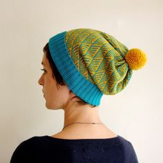 Knitted Hat Geometric Womens Knit Winter Hat - Teal & Mustard with Pom Pom