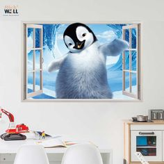 Kids bedroom 3d wall sticker vinyl decal window view Happy feet from stick2wall.com
