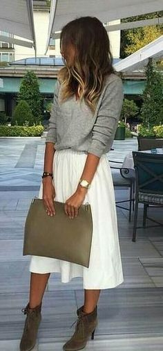 grey jumper. white midi skirt. ankle boots. street style. More