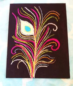Peacock Feather Pastel Canvas Art Piece by OniCreations on Etsy, $12.50