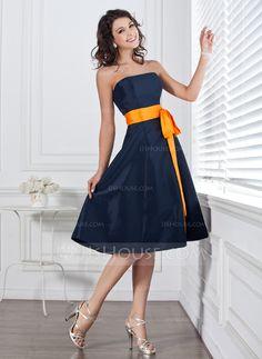 A-Line/Princess Strapless Knee-Length Taffeta Bridesmaid Dress With Sash Bow(s) (007004106) - JJsHouse