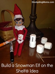 Build a snowman Elf on the Shelf® Idea #ElfOnTheShelf #Christmas