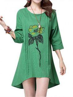 Women Half Sleeve Loose Flower Printing Cotton Linen O-Neck Mini Dress