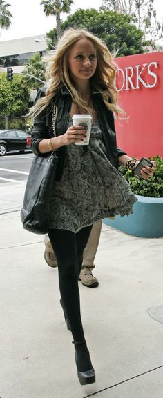 Nicole Richie Street style, dress and Leather