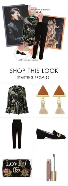 """""""Believe"""" by natural-cloe ❤ liked on Polyvore featuring Off-White, The Row, Gucci, 7 For All Mankind, Stila, army, gucci, bts, jimin and bloodsweatandtears"""