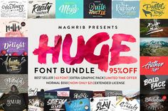 This package is amazing with a discount 95%, This is your chance to get a large number of best selling fonts. Normal price of $550 Now get all 61 fonts with super low price for $25 only + Extended License, and with a limited time. Do not miss, get today!