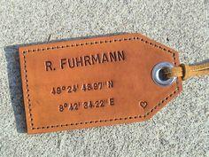 Personalized luggage tag with latitude and longitude coordinates