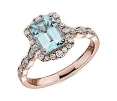 This beautiful aquamarine is paired with rose gold and encased in a diamond halo for a unique and romantic look. Pink Diamond Engagement Ring, 3 Stone Engagement Rings, Engagement Ring Styles, Halo Diamond, Solitaire Engagement, Emerald Cut Aquamarine Ring, Emerald Cut Diamonds, White Gold Diamonds, Aquamarine Jewelry