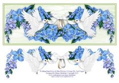 Wedding Ring Doves Blue Flowers Large DL Card Topper 2  on Craftsuprint designed by Elaine Sheldrake - Two beautiful white doves carrying the wedding bands, with some lovely flowers behind them. This design is also available in other colours. Perfect for a quick large DL card front, or you can decoupage it if you have a little more time. - Now available for download!