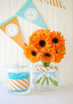 A cute and colorful birthday party in aqua blue and orange.