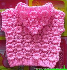 Crochet puff flower Sweater + Diagrams + Free Pattern Step By Step - Knitting Pull Crochet, Crochet Girls, Crochet Baby Clothes, Crochet For Kids, Free Crochet, Knit Crochet, Crochet Cardigan, Crochet Puff Flower, Crochet Flower Patterns