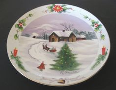 Christmas Sleigh Ride to Home Plate Hand painted K. Muto Signed