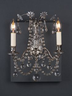 Take a look at this set of 3 crystal wall sconces by the lighting giant, Osler. These wall lights are truly spectacular, featuring hand pinned crystal drops and a silver plated metal finish. Art Deco Lighting, Antique Lighting, Candle Sconces, Wall Sconces, Crystal Drop, Crystal Wall, Wall Lights, Ceiling Lights, Art Nouveau