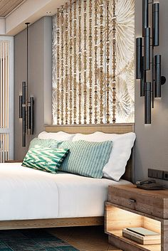 Luxe guestrooms are decorated with indigenous Mauritian materials and natural textiles. Bedroom Color Schemes, Bedroom Colors, Hotel Concept, Hotel Interiors, Shangri La, Interior Exterior, Resort Spa, Interior Design Inspiration, Decorative Lighting