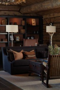 christian's and hennie Chalet Interior, Interior Exterior, Home Interior Design, Interior Decorating, Lodge Style Decorating, My Living Room, Home And Living, Living Spaces, Building A Cabin