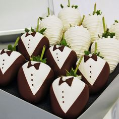 """Say """"I will"""" to these Wedding Strawberries decorated in delicate Belgium dark, milk, and white chocolate attire – a unique and whimsical remembrance of that day when two lives merged. Great for the Big Day, anniversaries, engagement parties, or wedding showers, this bride-and-groom strawberry collection is bound to capture your guests' hearts. In fact, we wouldn't be surprised if they fell in love with them! by love_y"""