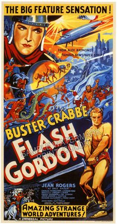 """Flash Gordon"" Buster Crabbe Vintage Movie Poster 20"" x 40"" RP 