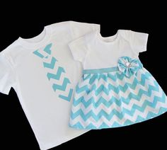 Boutique SIBLING SET..Brother sister set..onesie dress and tie t-shirt... in teal aqua chevron on Etsy, $54.00