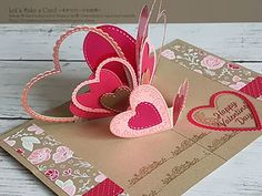 2019 V Fold Pop Up card Satomi Wellard-Independent Stampin'Up! Demonstrator in Japan and Australia, : Online Class Jan. 2019 V Fold Pop Up card Satomi Wellard-Independent Stampin'Up! Demonstrator in Japan and Australia, Pop Up Valentine Cards, Pop Up Cards, Valentines, Fancy Fold Cards, Folded Cards, Karten Diy, Christmas Cards To Make, Card Tutorials, Homemade Cards