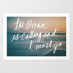 The Ocean is Calling by Laura Ruth and Leah Flores  Art Print by Laura Ruth  - $19.00