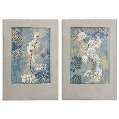 Blossoms Champagne And Silver Framed Art, Set Of 2 Uttermost Wall Art Wall Art Home Decor