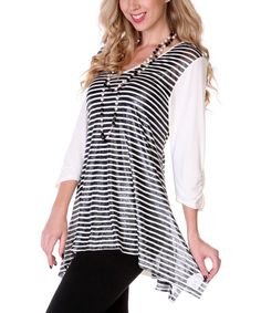 Love this Aster White & Black Sheer Stripe Shimmer Tunic by Aster on #zulily! #zulilyfinds