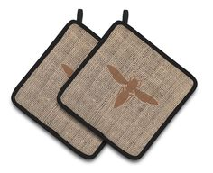 Yellow Jacket Faux Burlap and Brown Pair of Pot Holders BB1053-BL-BN-PTHD