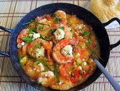 Prawns Tourkolimano - Kalofagas - Greek Food & Beyond Greek Dishes, Fish Dishes, Seafood Dishes, Fish And Seafood, Prawn Recipes, Seafood Recipes, Cooking Recipes, Seafood Meals, Greek Cooking