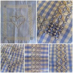 Picture of different stitches on blue gingham