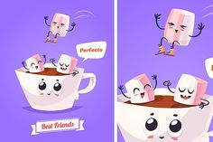 Funny characters zephyr and coffee Graphics Healthy Breakfast. Funny characters zephyr and cup of coffee. Funny food. Vector cartoon illustratio by Krol