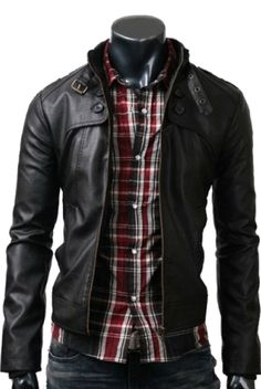 ROCKER BLACK SLIM-FIT LEATHER BIKER JACKET FOR MEN ONLY FOR £129.99–£144.99 BY UK Leather Factory