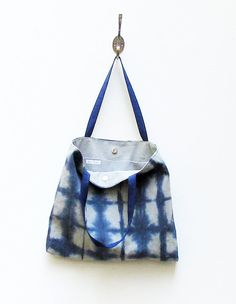 Shibori Tote Bag Navy Blue Canvas Bag Large Tote Bag by KekoBags